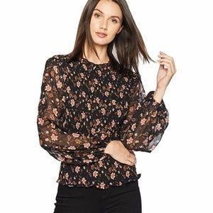 nwt | JOA Black Blouson Sleeve Floral Blouse
